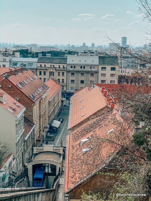 Zagreb funicular from Upper town