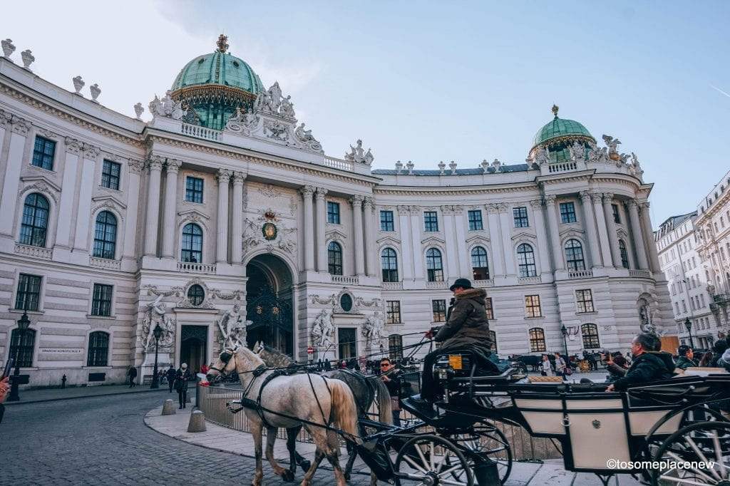 Horse carriage ride infront of Holfburg Palace