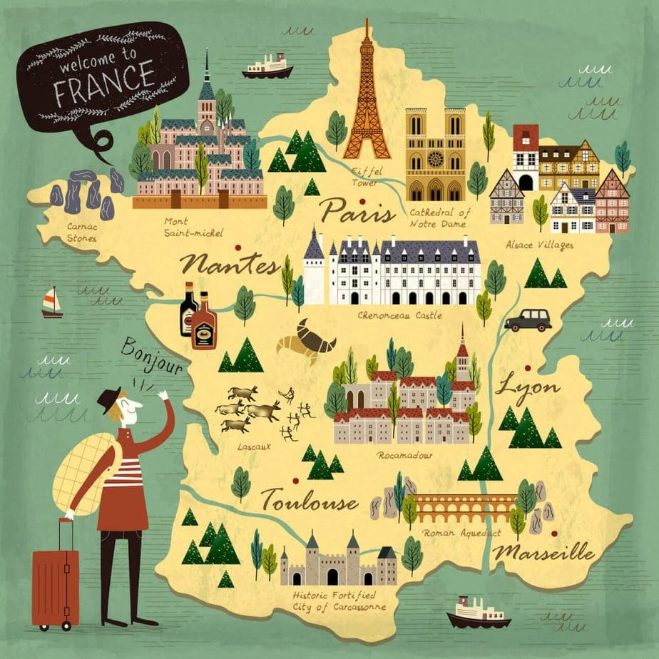 Illustrated map of France