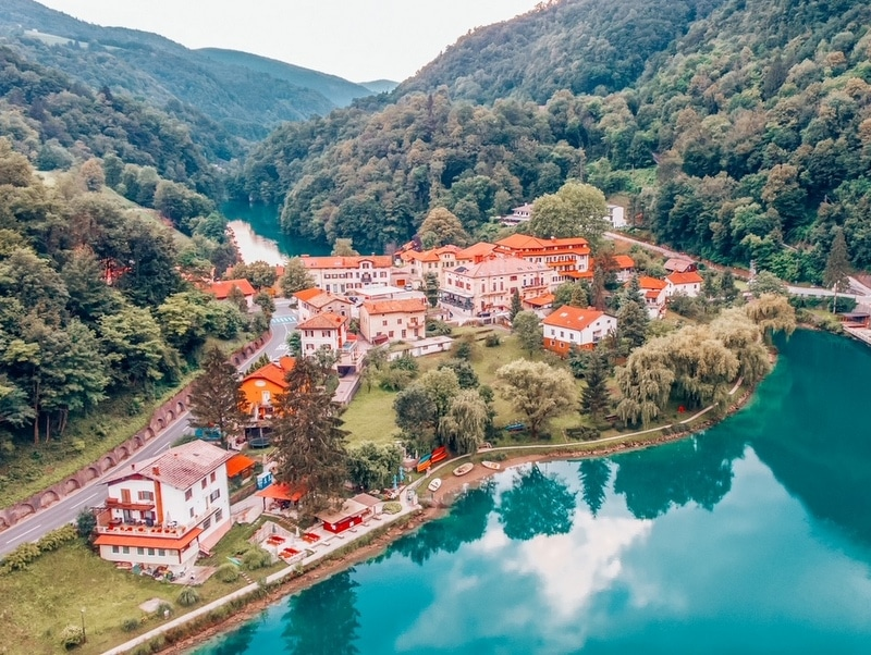 Aerial view of Most Na Soci lake in beautiful colors near Tolmin in Slovenia