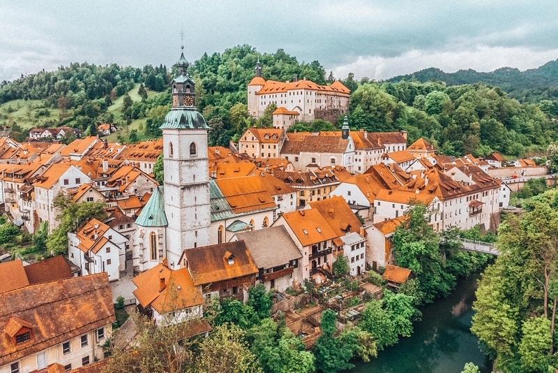 Panoramic aerial view of medieval old town of Skofja Loka, Slovenia