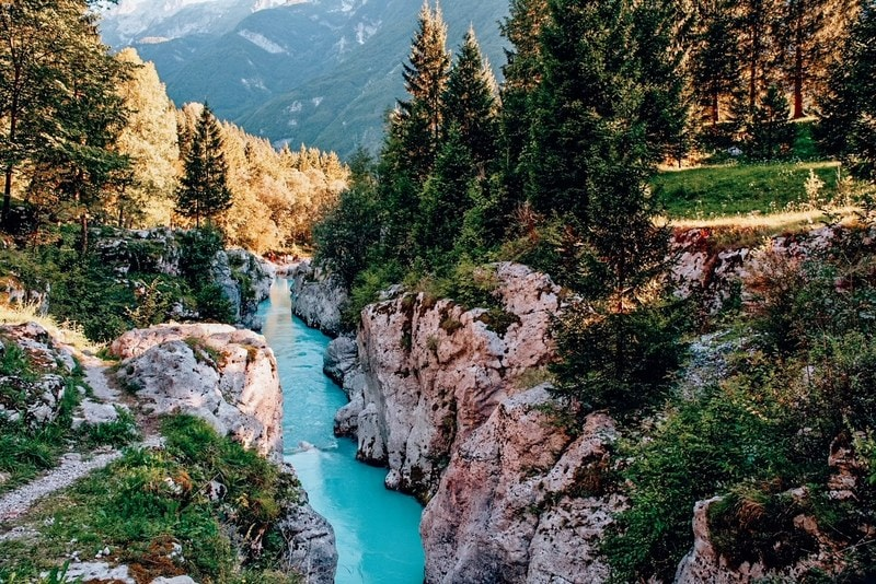 Soca River in the summer