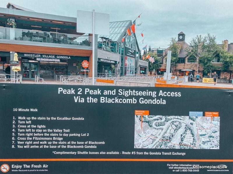 Route to the Blackcomb Gondola from Whistler Village Gondola