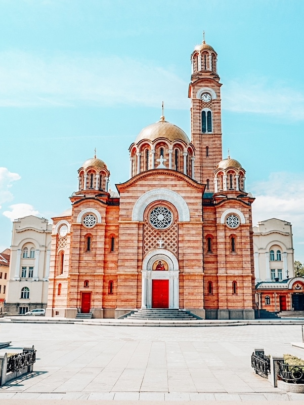 Front view of Cathedral of Christ the Saviour, Banja Luka. Bosnia and Herzegovina