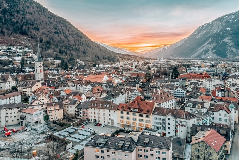 Cityscape of Chur, one of the oldest towns in Switzerland