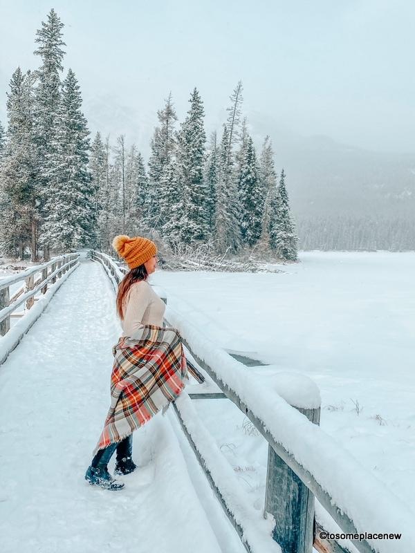 Girl in the snow in Canada
