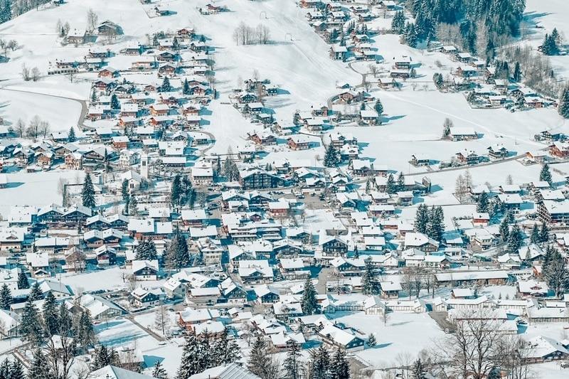 Winter in Lenk in Simmental valley in Switzerland
