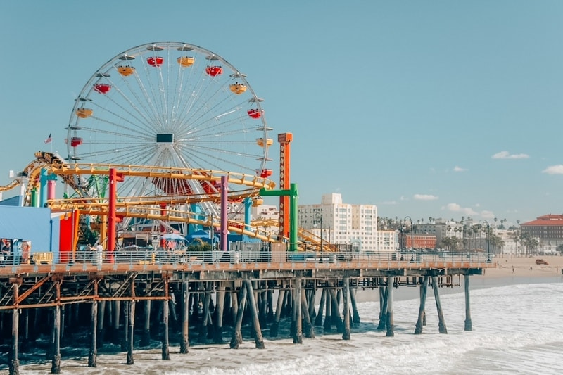 Santa Monica Pier, one of the warm winter vacations in the USA