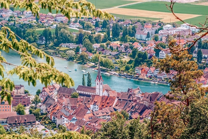 A hilltop aerial view of the scenic historical town  on the banks of Rhine river in Switzerland