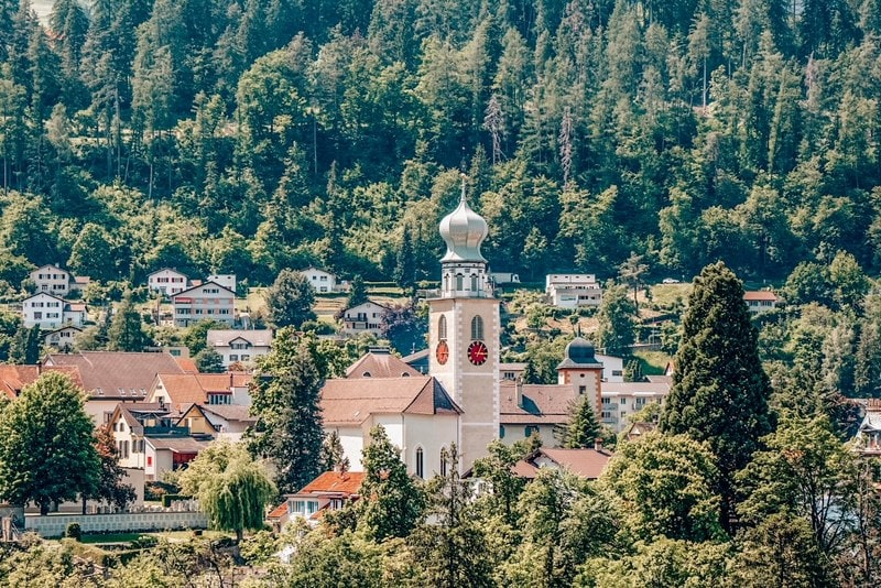 View from a beautiful old church in Thusis in the Swiss alps
