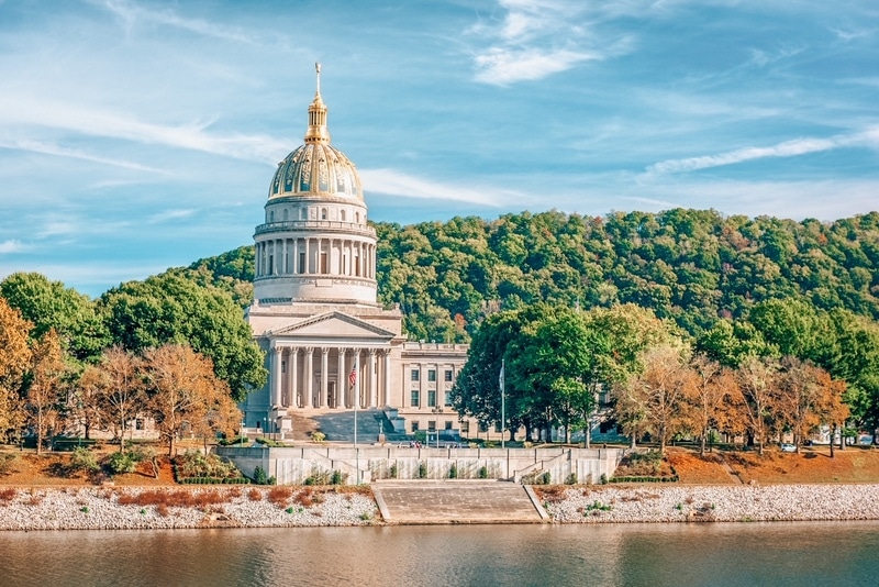 West Virginia State Capitol on the Kanawha River in Charleston, West Virginia