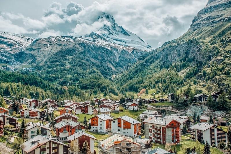 View of Zermatt, one of the prettiest towns in Switzerland